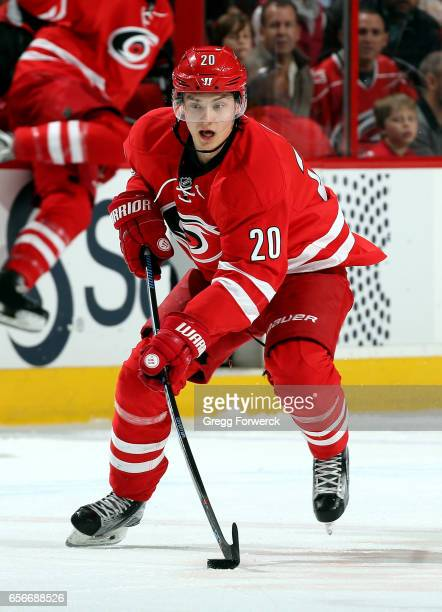 Sebastian Aho of the Carolina Hurricanes of the skates with a puck during an NHL game against the New York Islanders on March 14 2017 at PNC Arena in...