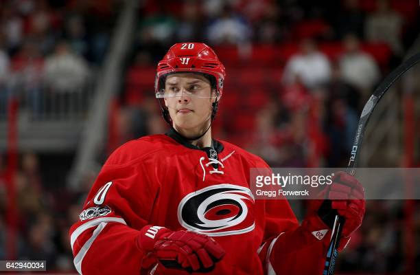 Sebastian Aho of the Carolina Hurricanes prepares for a faceoff during an NHL game against the Colorado Avalanche on February 17 2017 at PNC Arena in...