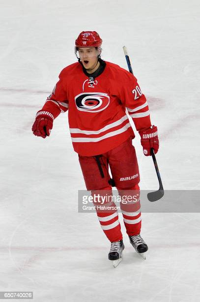 Sebastian Aho of the Carolina Hurricanes reacts after scoring the gamewinning goal against the New York Rangers during the third period of the game...