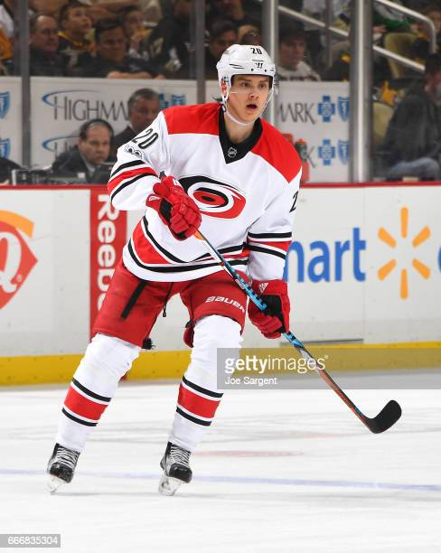 Sebastian Aho of the Carolina Hurricanes skates against the Pittsburgh Penguins at PPG Paints Arena on April 2 2017 in Pittsburgh Pennsylvania