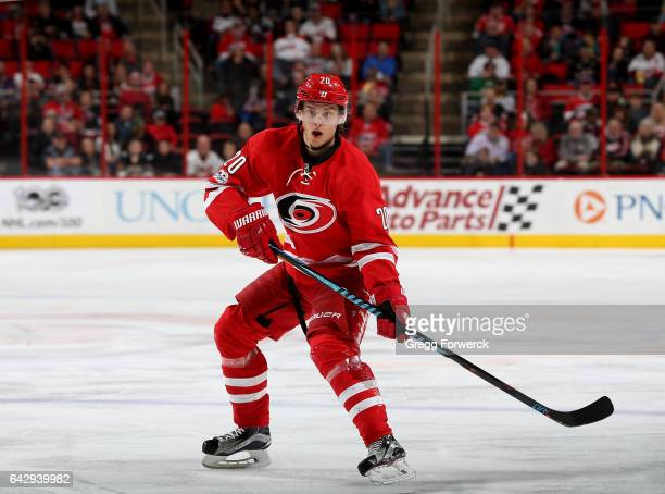 Sebastian Aho of the Carolina Hurricanes skates for position on the ice during an NHL game against the Colorado Avalanche on February 17 2017 at PNC...