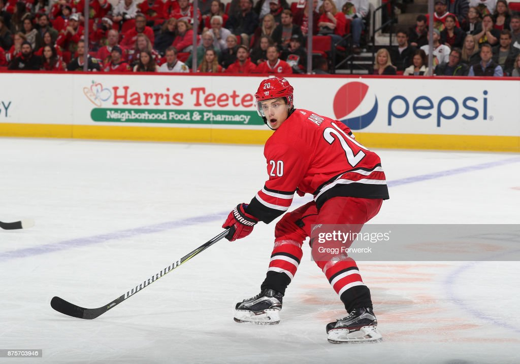 Sebastian Aho #20 of the Carolina Hurricanes skates for position on the ice during an NHL game against the Chicago Blackhawks on November 11, 2017 at PNC Arena in Raleigh, North Carolina.