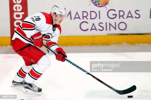Sebastian Aho of the Carolina Hurricanes skates with the puck against the Florida Panthers at the BBT Center on March 21 2017 in Sunrise Florida