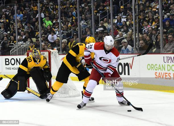 Sebastian Aho of the Carolina Hurricanes skates with the puck against the Pittsburgh Penguins at PPG PAINTS Arena on April 2 2017 in Pittsburgh...