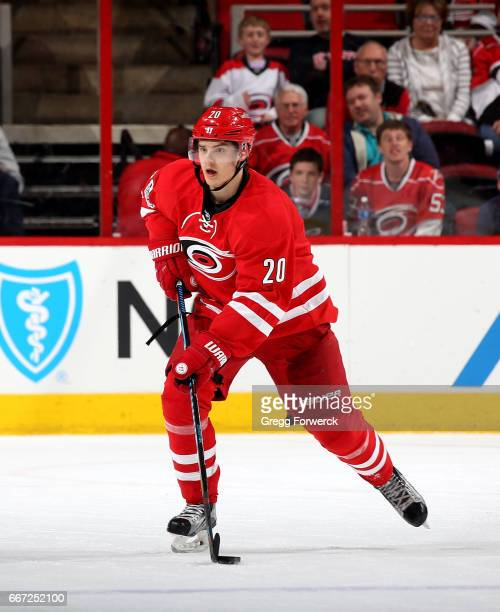 Sebastian Aho of the Carolina Hurricanes skates with the puck during an NHL game against the St Louis Blues on April 8 2017 at PNC Arena in Raleigh...
