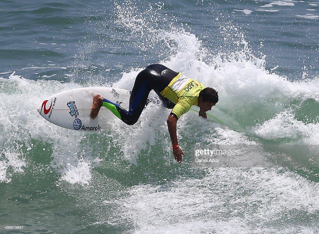 Sebastian Alarcon of Peru competes in Open Men Surf as part of the XVII Bolivarian Games Trujillo 2013 at Playa Punta Rocas on November 19, 2013 in Lima, Peru.
