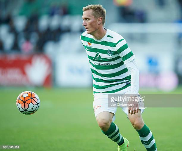 Sebastian Andersen of Viborg FF in action during the Danish Alka Superliga match between Viborg FF and Esbjerg fB at Energi Viborg Arena on July 31...