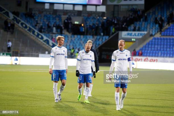 Sebastian Andersson Daniel Sjolund and Andreas Johansson of IFK Norrkoping dejected after the Allsvenskan match between IFK Norrkoping and GIF...
