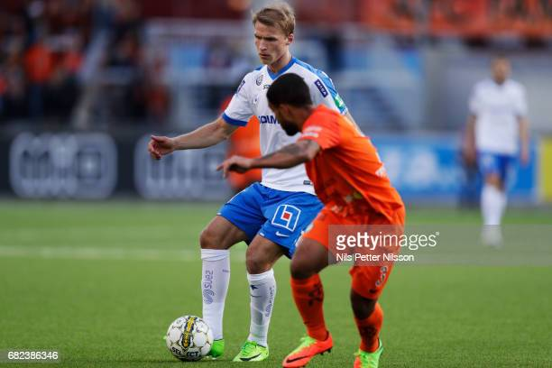 Sebastian Andersson of IFK Norrkoping and Jernade Mead of Athletic FC Eskilstuna during the Allsvenskan match between Athletic FC Eskilstuna and IFK...