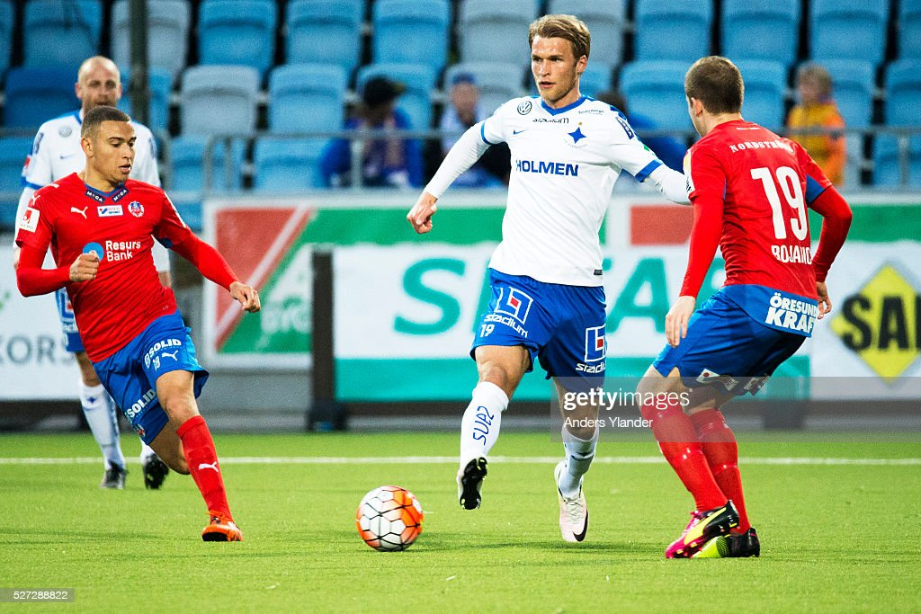 Sebastian Andersson of IFK Norrkoping competes for the ball with Jordan Larsson of Helsingborgs IF and Darijan Bojanic of Helsingborgs IF during the Allsvenskan match between IFK Norrkoping and Helsingborgs IF at Ostgotaporten on May 2, 2016 in Norrkoping, Sweden.