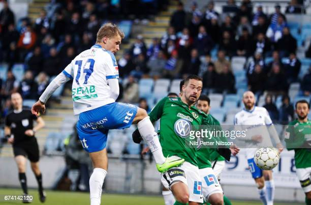 Sebastian Andersson of IFK Norrkoping shoots a header during the Allsvenskan match between IFK Norrkoping and Jonkopings Sodra IF at Ostgotaporten on...