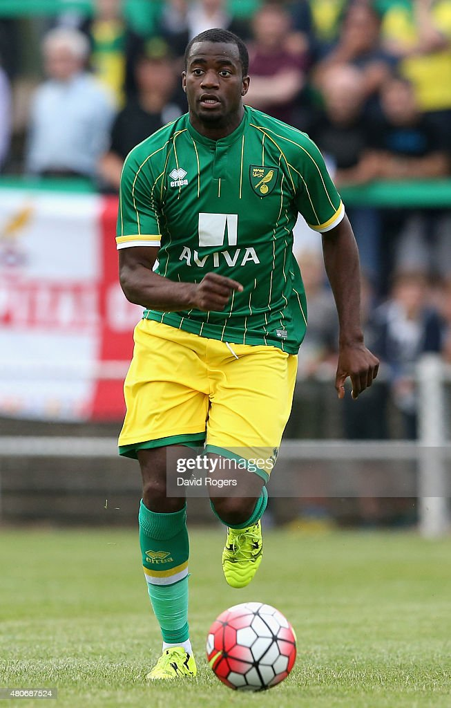 Sebastian Bassong of Norwich City looks on during the pre season friendly match between Hitchin Town and Norwich City at Top Field Stadium on July 14...