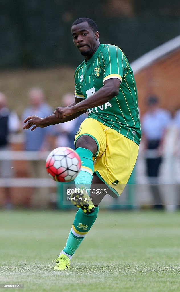 Sebastian Bassong of Norwich City passes the ball during the pre season friendly match between Hitchin Town and Norwich City at Top Field Stadium on...