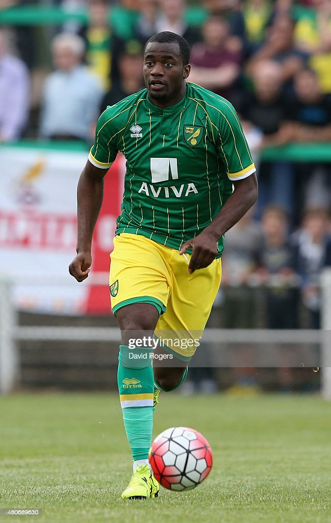 Sebastian Bassong of Norwich City runs with the ball during the pre season friendly match between Hitchin Town and Norwich City at Top Field Stadium...