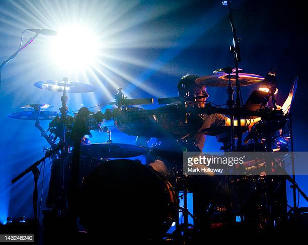Sebastian Beresford of Leftfield performs on stage at Brixton Academy on April 21 2012 in London United Kingdom