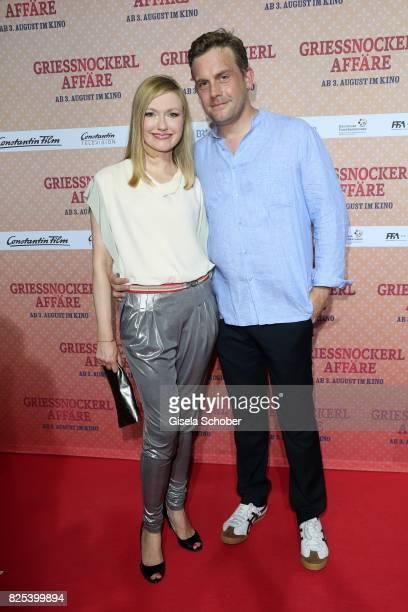 Sebastian Bezzel and his wife Johanna Gehlen during the 'Griessnockerlaffaere' premiere at Mathaeser Filmpalast on August 1 2017 in Munich Germany