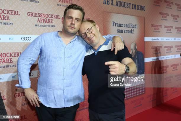 Sebastian Bezzel and Simon Schwarz during the 'Griessnockerlaffaire' premiere at Mathaeser Filmpalast on August 1 2017 in Munich Germany