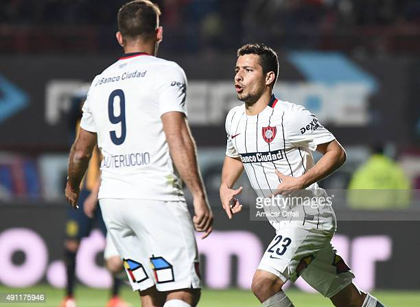 Sebastian Blanco of San Lorenzo celebrates after scoring the second goal of his team during a match between San Lorenzo and Rosario Central as part...