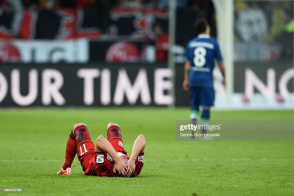 <a gi-track='captionPersonalityLinkClicked' href=/galleries/search?phrase=Sebastian+Boenisch&family=editorial&specificpeople=632472 ng-click='$event.stopPropagation()'>Sebastian Boenisch</a> of Bayer Leverkusen reacts after the Bundesliga match between Bayer 04 Leverkusen and VfL Wolfsburg at BayArena on February 14, 2015 in Leverkusen, Germany.