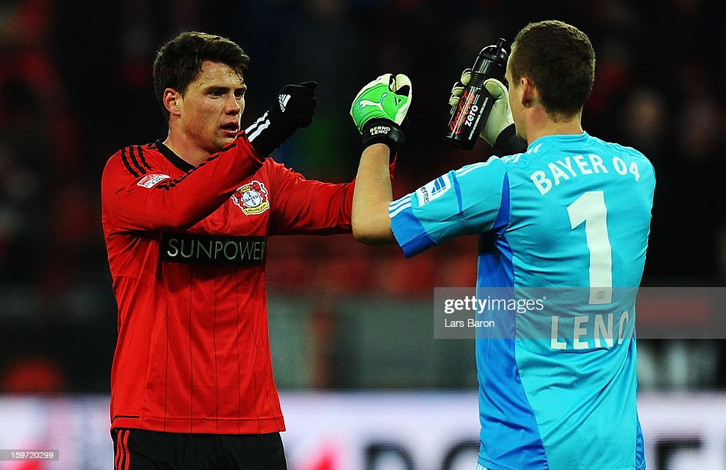 <a gi-track='captionPersonalityLinkClicked' href=/galleries/search?phrase=Sebastian+Boenisch&family=editorial&specificpeople=632472 ng-click='$event.stopPropagation()'>Sebastian Boenisch</a> of Leverkusen celebrates with goalkeeper <a gi-track='captionPersonalityLinkClicked' href=/galleries/search?phrase=Bernd+Leno&family=editorial&specificpeople=5528639 ng-click='$event.stopPropagation()'>Bernd Leno</a> of Leverkusen during the Bundesliga match between Bayer 04 Leverkusen and Eintracht Frankfurt at BayArena on January 19, 2013 in Leverkusen, Germany.