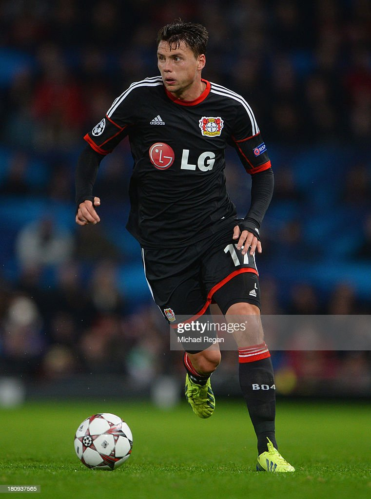 <a gi-track='captionPersonalityLinkClicked' href=/galleries/search?phrase=Sebastian+Boenisch&family=editorial&specificpeople=632472 ng-click='$event.stopPropagation()'>Sebastian Boenisch</a> of Leverkusen in action during the UEFA Champions League Group A match between Manchester United and Bayer Leverkusen at Old Trafford on September 17, 2013 in Manchester, England.