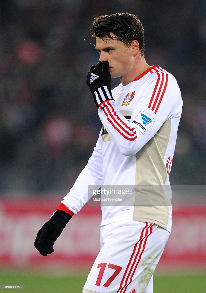 <a gi-track='captionPersonalityLinkClicked' href=/galleries/search?phrase=Sebastian+Boenisch&family=editorial&specificpeople=632472 ng-click='$event.stopPropagation()'>Sebastian Boenisch</a> of Leverkusen leaves the pitch after the Bundesliga match between SC Freiburg and Bayer 04 Leverkusen at MAGE SOLAR Stadium on January 26, 2013 in Freiburg, Germany.