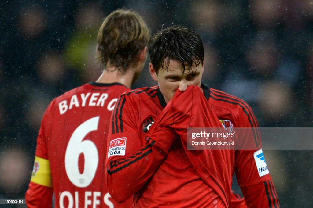 Sebastian Boenisch of Leverkusen reacts during the Bundesliga match between Bayer 04 Leverkusen and Borussia Dortmund at BayArena on February 3, 2013 in Leverkusen, Germany.