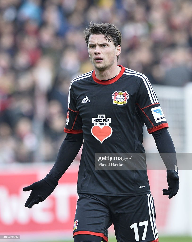 <a gi-track='captionPersonalityLinkClicked' href=/galleries/search?phrase=Sebastian+Boenisch&family=editorial&specificpeople=632472 ng-click='$event.stopPropagation()'>Sebastian Boenisch</a> of Leverkusen reacts during the Bundesliga match between SC Freiburg and Bayer Leverkusen at Mage Solar Stadium on January 25, 2014 in Freiburg, Germany.