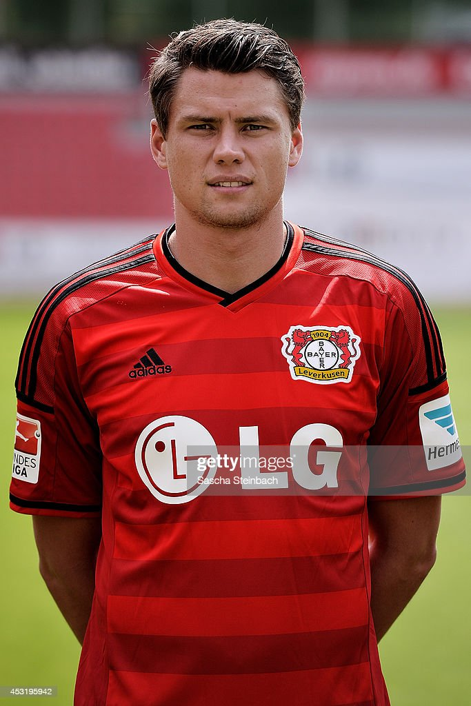 <a gi-track='captionPersonalityLinkClicked' href=/galleries/search?phrase=Sebastian+Boenisch&family=editorial&specificpeople=632472 ng-click='$event.stopPropagation()'>Sebastian Boenisch</a> poses during Bayer Leverkusen team presentation at BayArena on August 4, 2014 in Leverkusen, Germany.