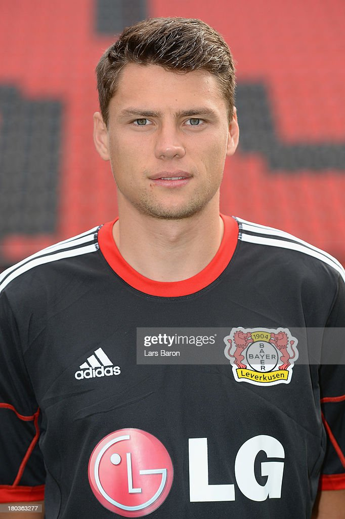 <a gi-track='captionPersonalityLinkClicked' href=/galleries/search?phrase=Sebastian+Boenisch&family=editorial&specificpeople=632472 ng-click='$event.stopPropagation()'>Sebastian Boenisch</a> poses during the Bayer Leverkusen team presentation on September 12, 2013 in Leverkusen, Germany.