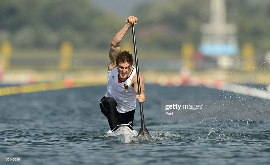 Sebastian Brendel of Germany competes in the Men's Canoe Single 200m Sprint Final B on Day 15 of the London 2012 Olympic Games at Eton Dorney on...
