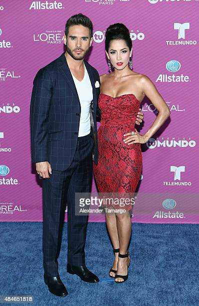 Sebastian Caicedo and Carmen Villalobos arrives at Telemundo's 'Premios Tu Mundo Awards' at American Airlines Arena on August 20 2015 in Miami Florida