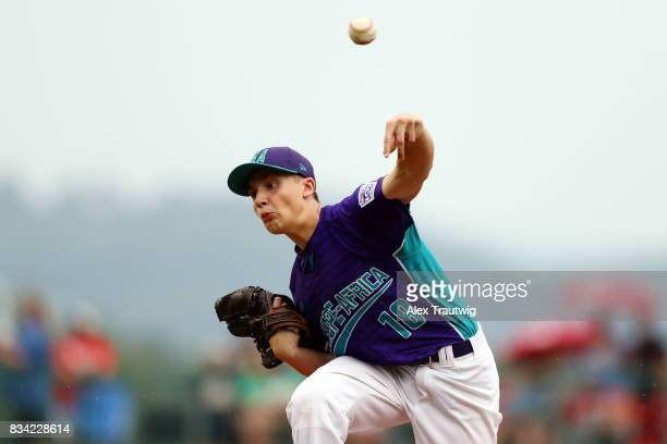 Sebastian Catellani of the Europe Africa team from Italy pitches during Game 3 of the 2017 Little League World Series against the Canada team from...
