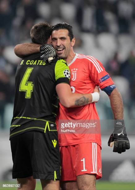 Sebastian Coates and Gianluigi Buffon during Champions League match between Juventus and Sporting Clube de Portugal in Turin on October 17 2017