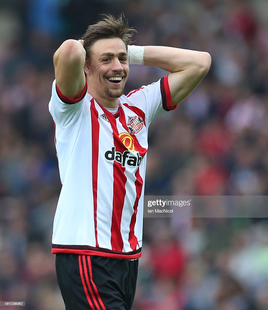 <a gi-track='captionPersonalityLinkClicked' href=/galleries/search?phrase=Sebastian+Coates&family=editorial&specificpeople=5678488 ng-click='$event.stopPropagation()'>Sebastian Coates</a> of Sunderland reacts during the Barclays Premier League match between Sunderland and West Ham United at The Stadium of Light on October 03, 2015 in Sunderland, England.