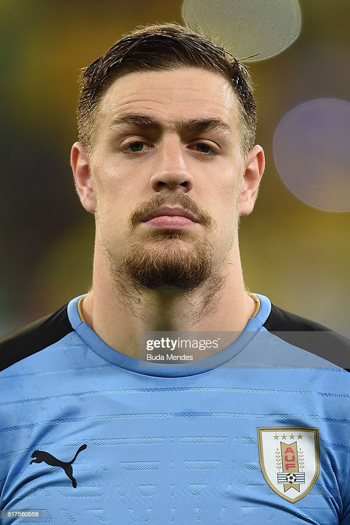 Sebastian Coates of Uruguay looks on during a match between Brazil and Uruguay as part of 2018 FIFA World Cup Russia Qualifiers at Arena Pernanbuco on March 25, 2016 in Recife, Brazil.