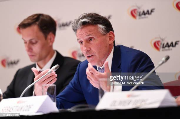 Sebastian Coe IAAF President during press conference following the 210th IAAF Council Meeting on July 31 2017 in London England