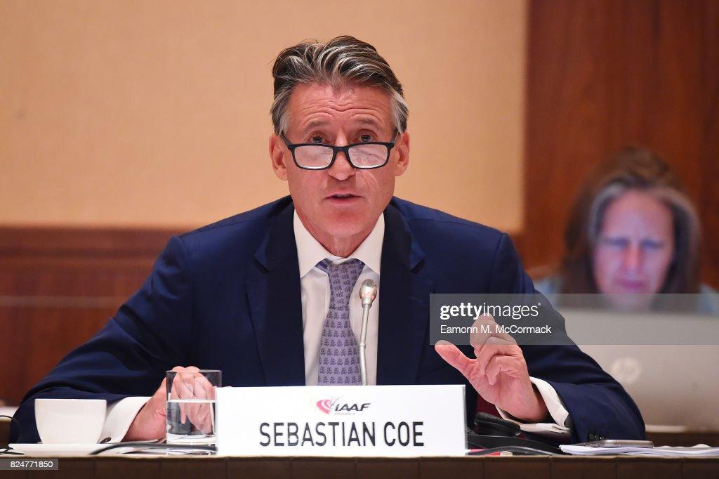 Sebastian Coe, IAAF President leads the 210th IAAF Council Meeting on July 31, 2017 in London, England.