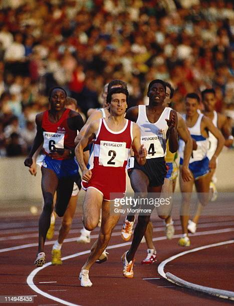 Sebastian Coe leads the field on his way to winning the Men's 800 metre event at the Peugeot Talbot Games Grand Prix on 8th July 1988 at the the...