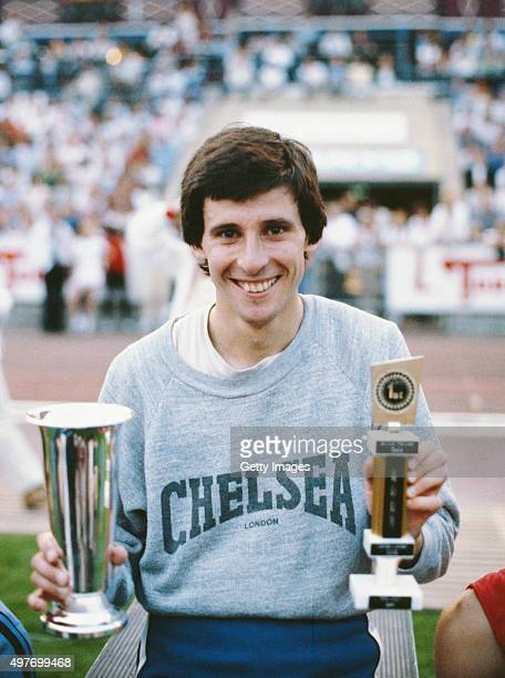 Sebastian Coe of Great Britain celebrates with trophys after breaking the 1000m World Record with a time of 21218 at the Bislet stadium on July 11...
