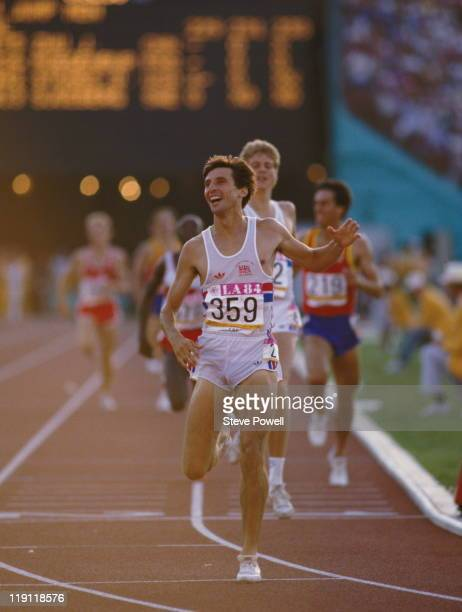 Sebastian Coe of Great Britain crosses the finishing line and celebrates winning the final of the Men's 1500 metres event at the XXIII Summer...