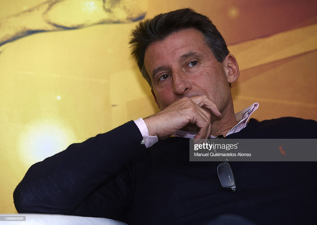 <a gi-track='captionPersonalityLinkClicked' href=/galleries/search?phrase=Sebastian+Coe&family=editorial&specificpeople=160624 ng-click='$event.stopPropagation()'>Sebastian Coe</a> of Great Britain in press conference during the preview day of the IAAF athlete of the year award at the IAAF Centenary Gala on November 23, 2012 in Barcelona, Spain.