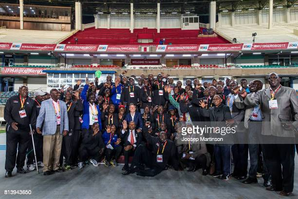 Sebastian Coe president of IAAF poses for a photograph with all time medal winners of Kenya during day 2 of the IAAF U18 World Championships at Moi...