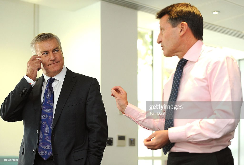 <a gi-track='captionPersonalityLinkClicked' href=/galleries/search?phrase=Sebastian+Coe&family=editorial&specificpeople=160624 ng-click='$event.stopPropagation()'>Sebastian Coe</a> (R) speaks to the media during a press conference to announce Bill Sweeney (L) as the new BOA Chief Executive Officer on October 7, 2013 in London, England.