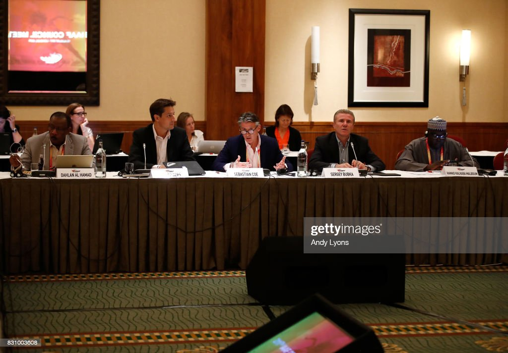 Sebastian Coe the IAAF President talks to the council members with Dahlan Jumaan Al Hamad, Olivier Gers on his left and Sergey Bubka ,Hamad Kalkaba Malboum to his right during the 211th IAAF Council Meeting on August 13, 2017 in London, England.