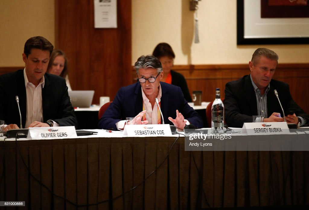 Sebastian Coe the IAAF President with Olivier Gers, CEO of IAAF to his left and Sergey Bubka, IAAF Senior Vice President to his right talks with to the council members during the 211th IAAF Council Meeting on August 13, 2017 in London, England.