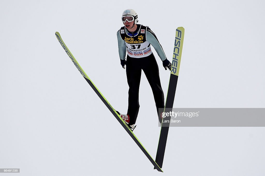 Sebastian Colloredo of Italy competes during training for the FIS Ski Jumping World Cup event at the 58th Four Hills ski jumping tournament at Erdinger Arena on December 28, 2009 in Oberstdorf, Germany.