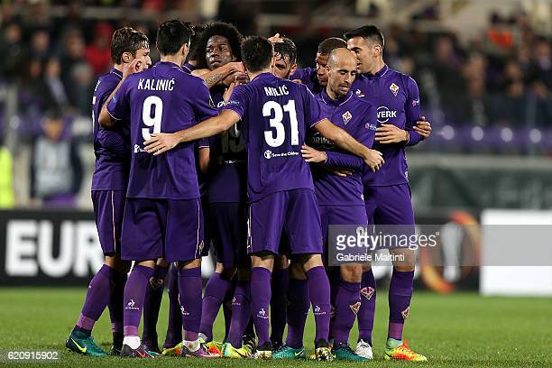 Sebastian Cristoforo of ACF Fiorentina celebrates after scoring a goal during the UEFA Europa League match between ACF Fiorentina and FC Slovan...