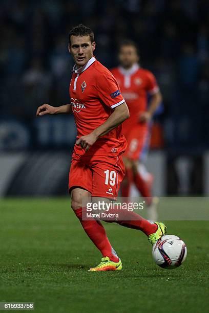 Sebastian Cristoforo of Fiorentina in action during the UEFA Europa League match between FC Slovan Liberec and ACF Fiorentina at U Nisy Stadium on...