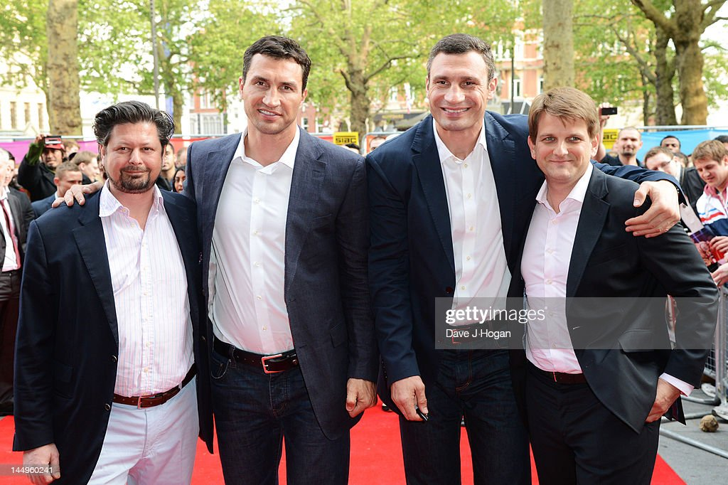 L-R Sebastian Dehnhardt, Wladimir Klitschko, Vitali Klitschko and Leopold Hoesch attend the UK premiere of Klitschko at The Empire Leicester Square on May 21, 2012 in London, England.
